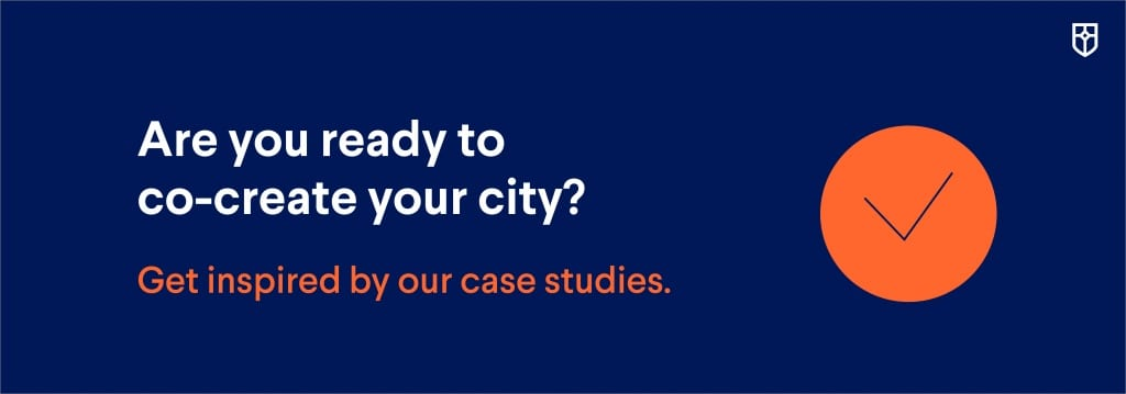 button to case studies on co-creation of cities
