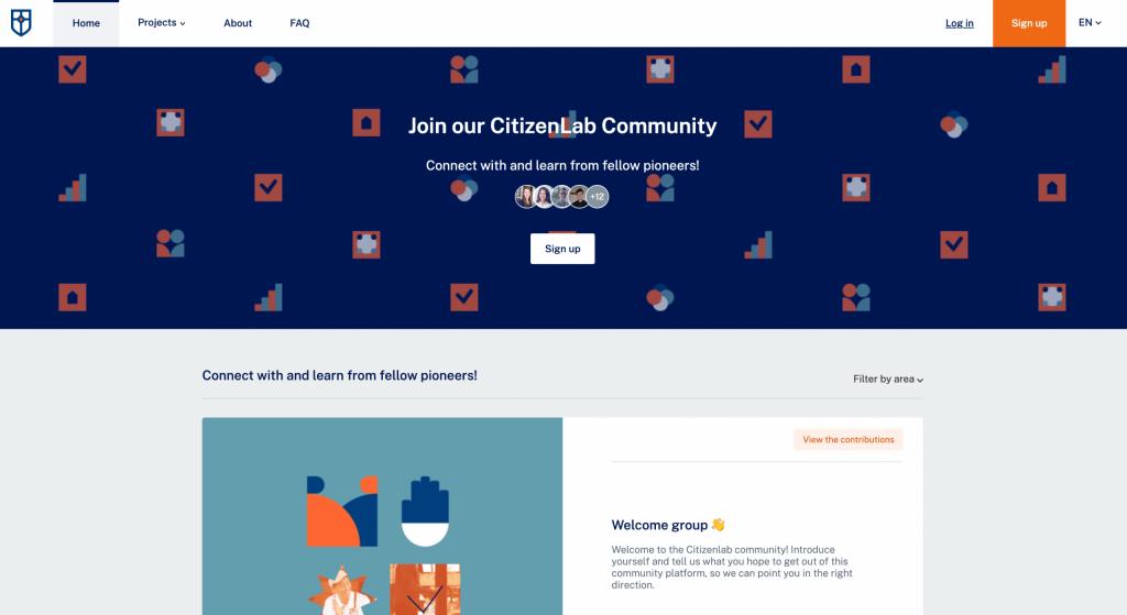 Homepage of community platform