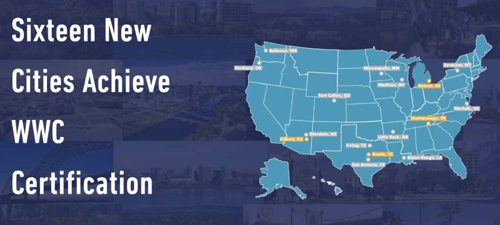 map showing 16 new certified cities