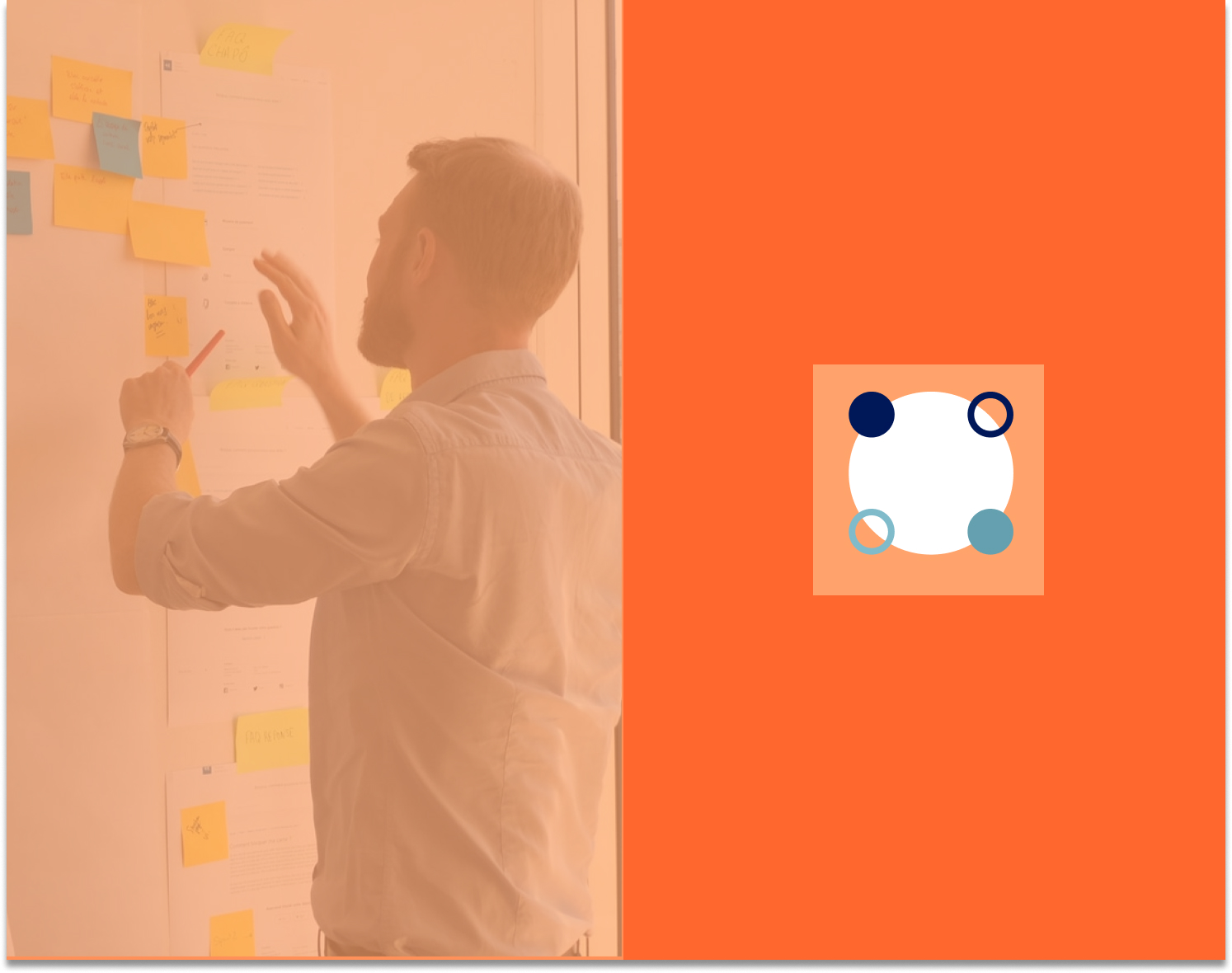 Person conducting workshop with sticky notes on wall